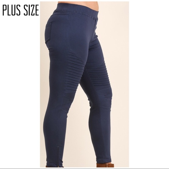 9a509a4c9b7 Plus Size Umgee Side Zip Moto Jegging